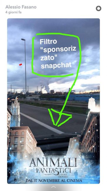 """Un esempio di snap """"sponsorizzato"""""""
